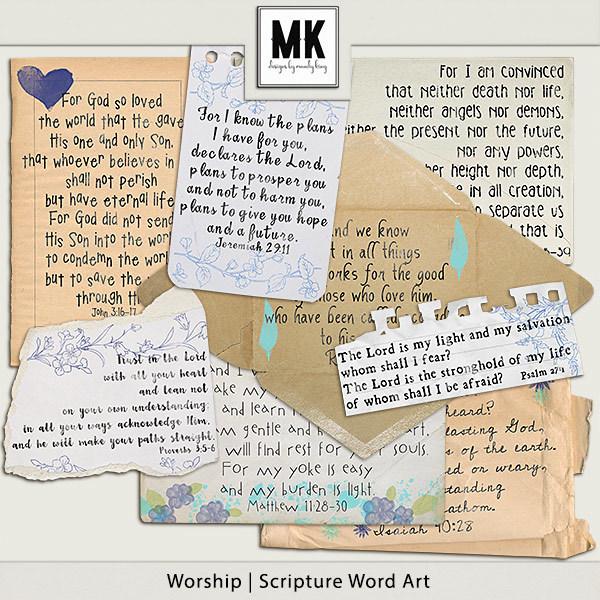 Worship - Word Art Digital Art - Digital Scrapbooking Kits