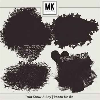 You Know A Boy - Photo Masks Digital Art - Digital Scrapbooking Kits