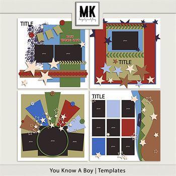 You Know A Boy - Template Set Digital Art - Digital Scrapbooking Kits