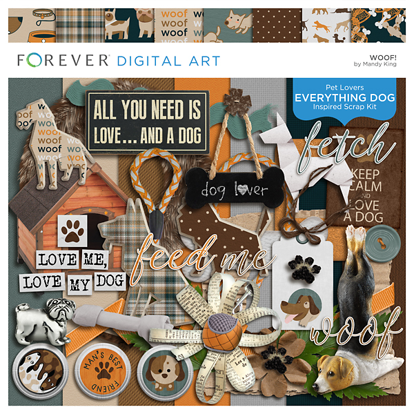 Woof! Kit Digital Art - Digital Scrapbooking Kits