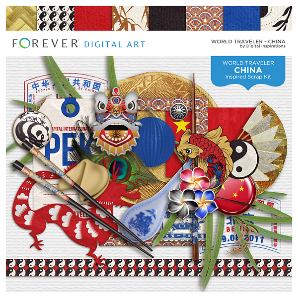 World Traveler - China Digital Art - Digital Scrapbooking Kits