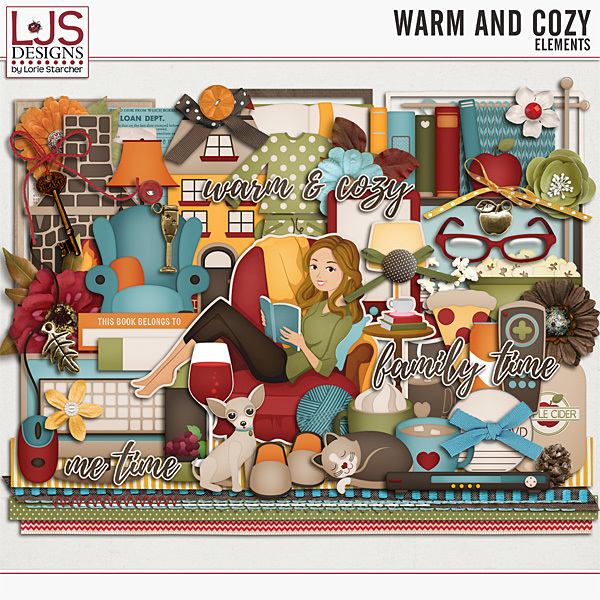 Warm And Cozy - Elements Digital Art - Digital Scrapbooking Kits