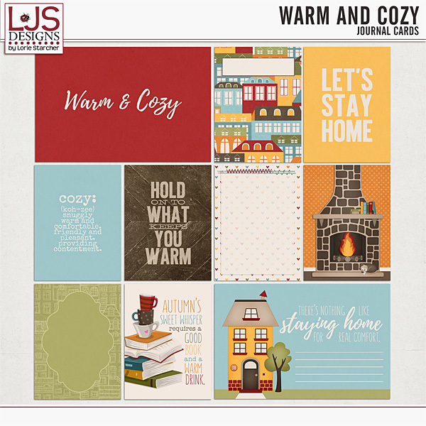 Warm And Cozy - Journal Cards Digital Art - Digital Scrapbooking Kits