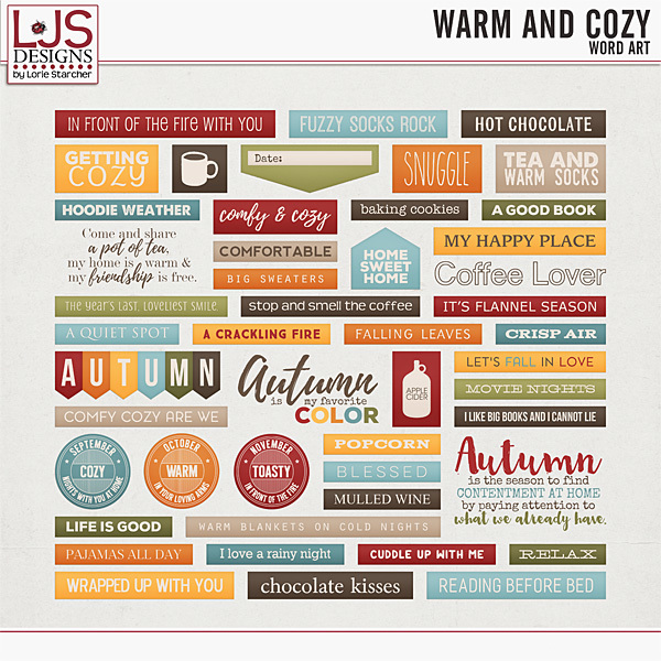Warm And Cozy - Word Art Digital Art - Digital Scrapbooking Kits
