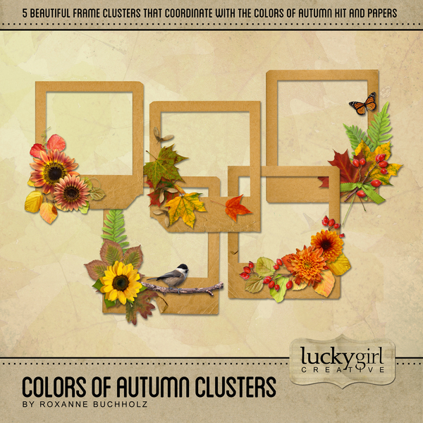 Colors Of Autumn Clusters Digital Art - Digital Scrapbooking Kits