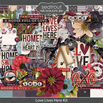 Love Lives Here Kit Digital Art - Digital Scrapbooking Kits