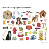 Classic Cats And Dogs Digital Embellishments