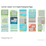 Summer Vacation 12x12 Digital Predesigned Pages