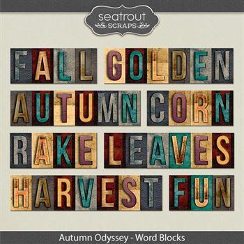 Autumn Odyssey Word Blocks Digital Art - Digital Scrapbooking Kits