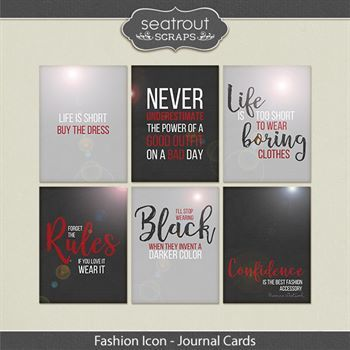 Fashion Icon Word Art Cards Digital Art - Digital Scrapbooking Kits