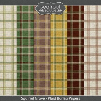 Squirrel Grove Plaid Burlap Papers