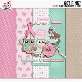 Got Pink - Breast Cancer Awareness Freebie Digital Art - Digital Scrapbooking Kits