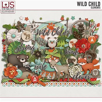 Wild Child - Elements Digital Art - Digital Scrapbooking Kits