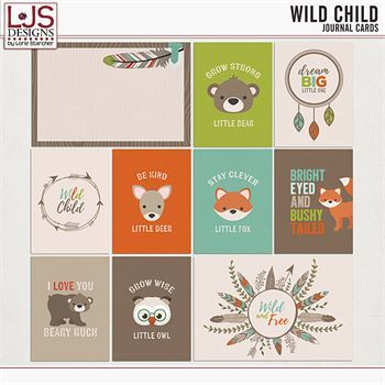 Wild Child - Journal Cards Digital Art - Digital Scrapbooking Kits