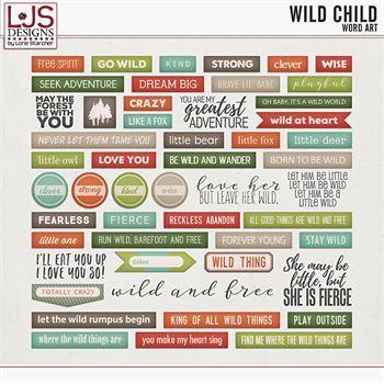 Wild Child - Word Art Digital Art - Digital Scrapbooking Kits
