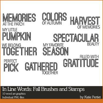 In Line Words Fall Brushes And Stamps
