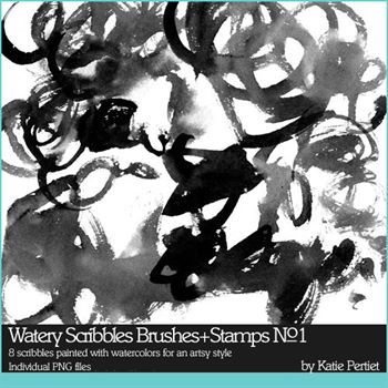 Watery Scribbles Brushes And Stamps No. 01 Digital Art - Digital Scrapbooking Kits
