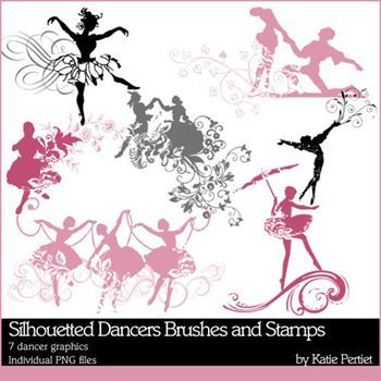 Silhouetted Dancers Brushes And Stamps
