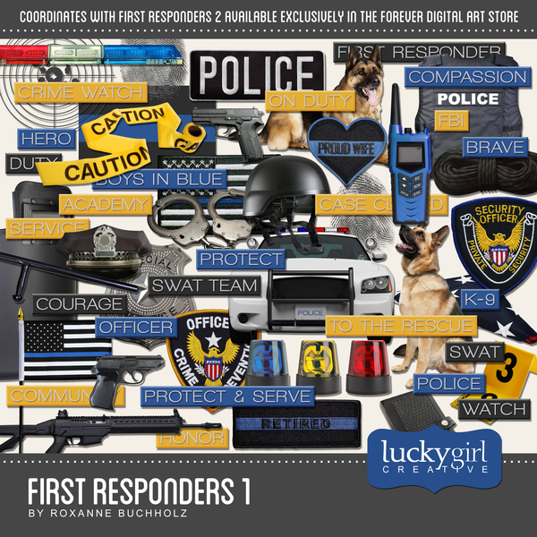 First Responders 1 Digital Art - Digital Scrapbooking Kits