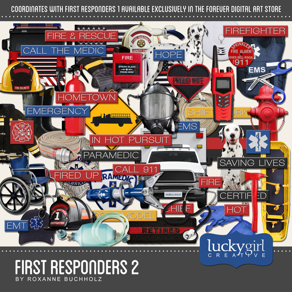First Responders 2 Digital Art - Digital Scrapbooking Kits