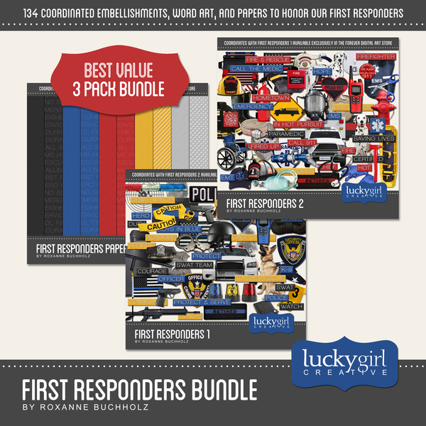 First Responders Bundle Digital Art - Digital Scrapbooking Kits