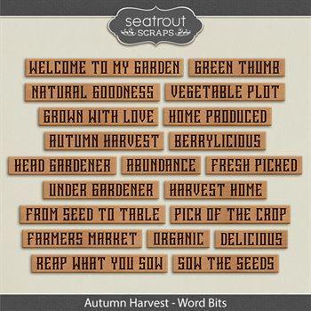 Autumn Harvest Word Bits Digital Art - Digital Scrapbooking Kits