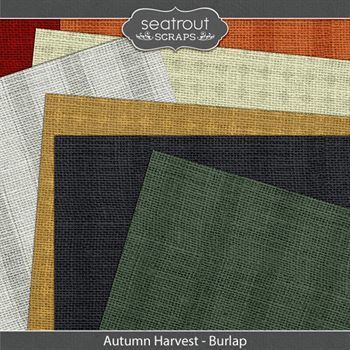 Autumn Harvest Burlap Papers Digital Art - Digital Scrapbooking Kits