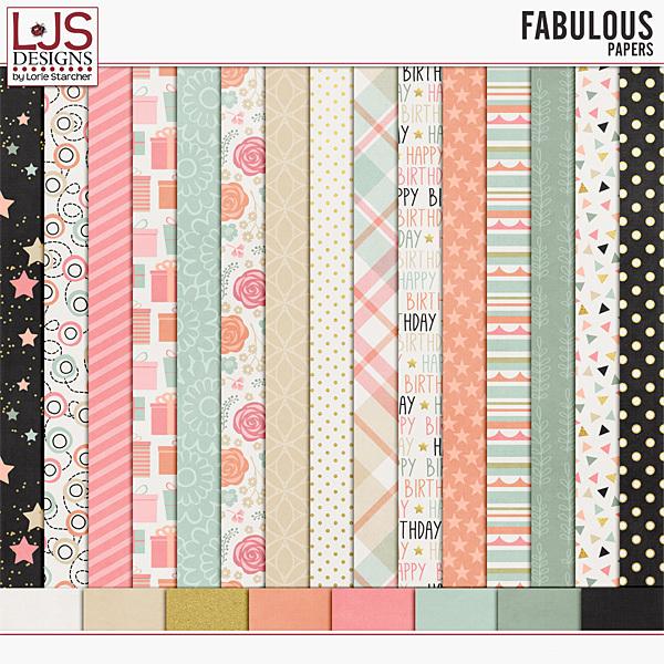 Fabulous - Papers Digital Art - Digital Scrapbooking Kits