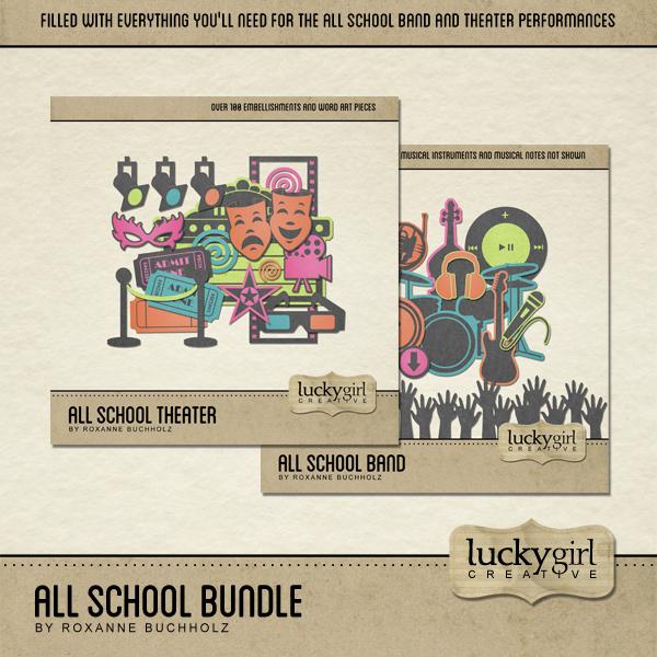 All School Bundle Digital Art - Digital Scrapbooking Kits