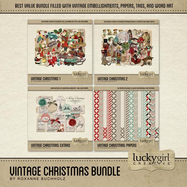 Vintage Christmas Bundle Digital Art - Digital Scrapbooking Kits
