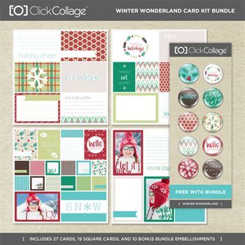 Winter Wonderland Card Kit Bundle Digital Art - Digital Scrapbooking Kits