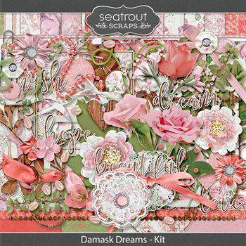 Damask Dreams Kit Digital Art - Digital Scrapbooking Kits