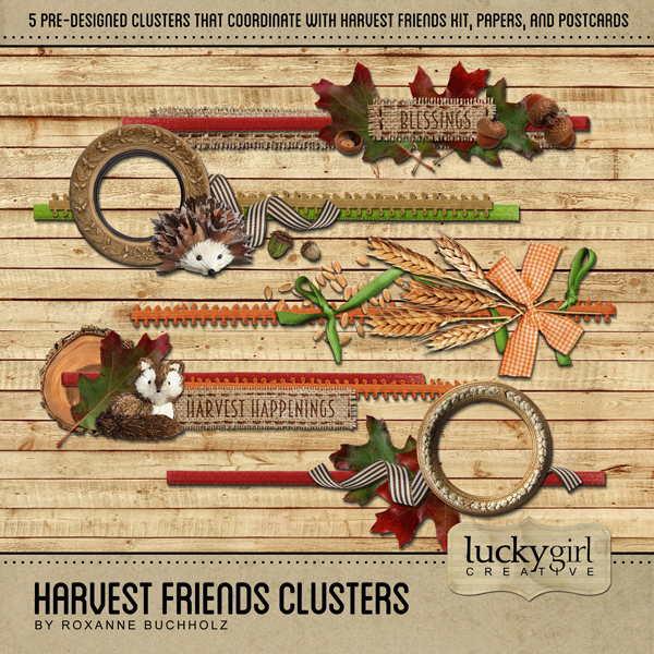 Harvest Friends Clusters Digital Art - Digital Scrapbooking Kits
