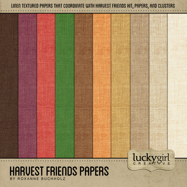 Harvest Friends Papers Digital Art - Digital Scrapbooking Kits