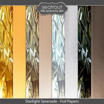 Starlight Serenade Foil Papers Digital Art - Digital Scrapbooking Kits