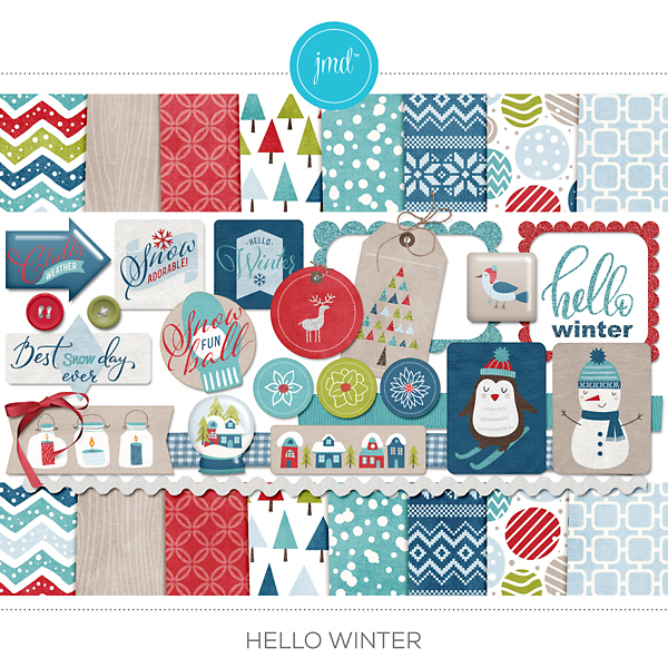 Hello Winter Digital Art - Digital Scrapbooking Kits