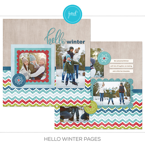 Hello Winter Pre-designed Pages Digital Art - Digital Scrapbooking Kits