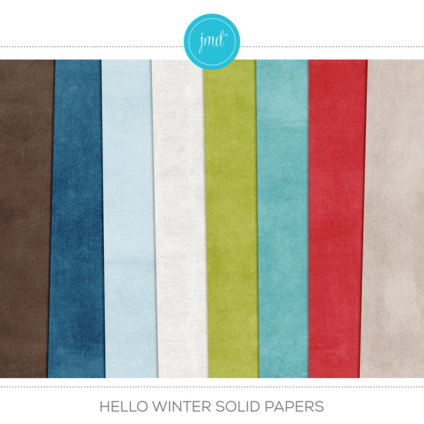 Hello Winter Solid Papers Digital Art - Digital Scrapbooking Kits