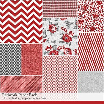 Redwork Paper Pack