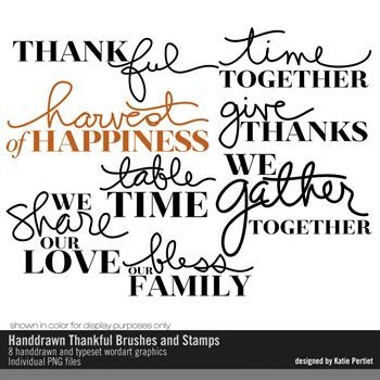 Handdrawn Thankful Brushes And Stamps No. 01