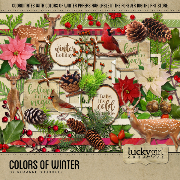 Colors Of Winter Digital Art - Digital Scrapbooking Kits