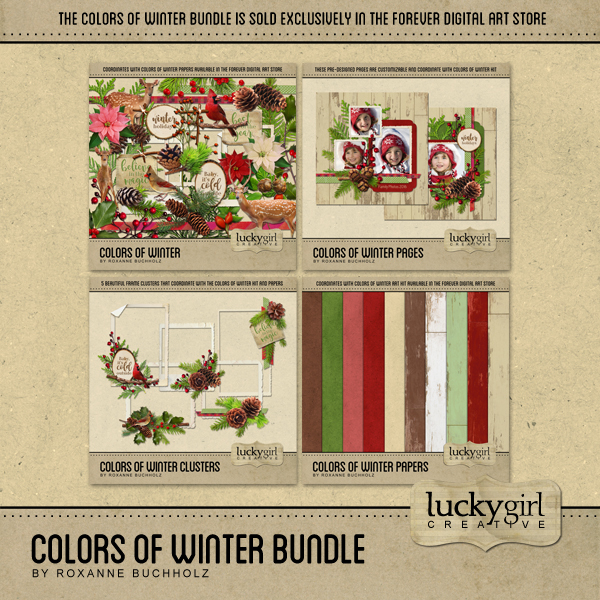 Colors Of Winter Bundle Digital Art - Digital Scrapbooking Kits