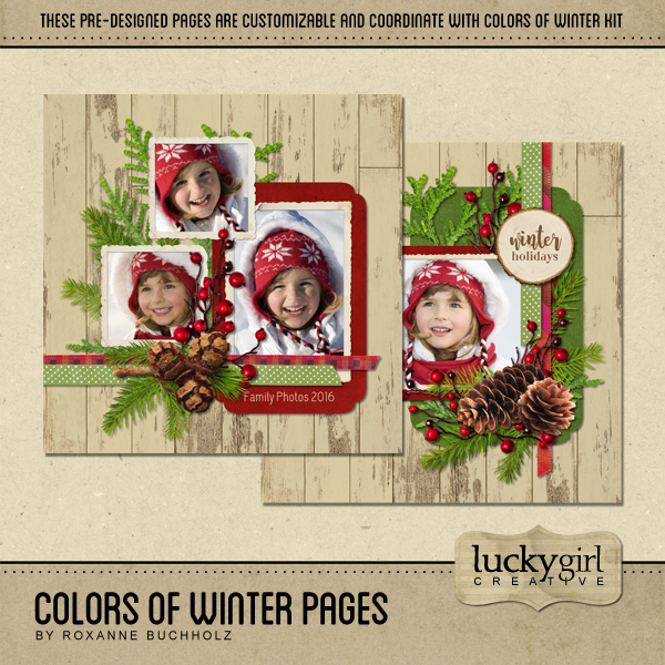 Colors Of Winter Pages Digital Art - Digital Scrapbooking Kits