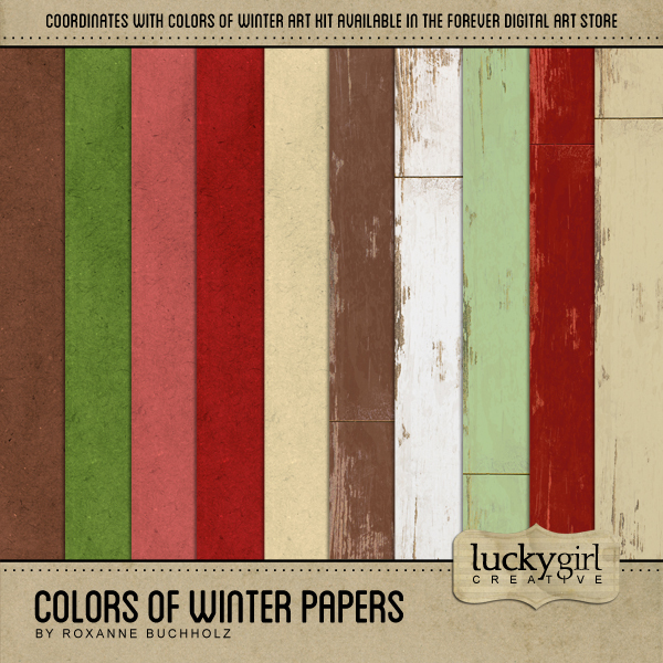 Colors Of Winter Papers Digital Art - Digital Scrapbooking Kits