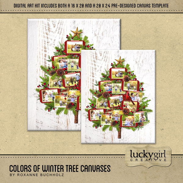 Colors Of Winter Tree Canvases Digital Art - Digital Scrapbooking Kits
