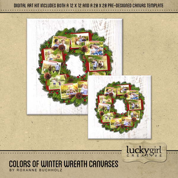 Colors Of Winter Wreath Canvases Digital Art - Digital Scrapbooking Kits