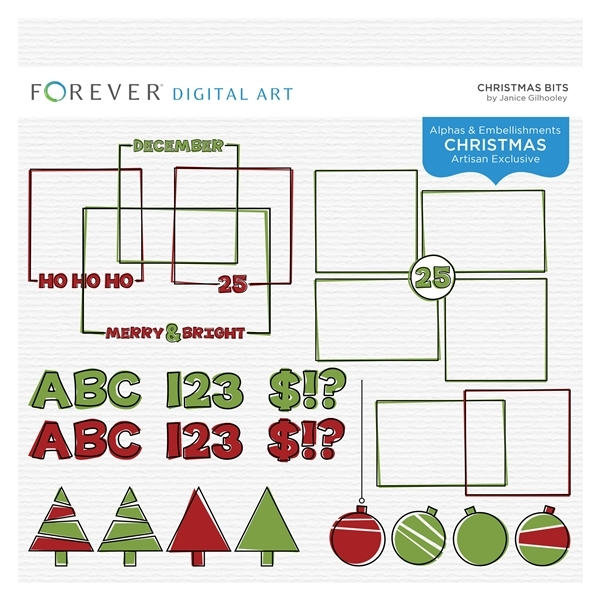 Christmas Bits Digital Art - Digital Scrapbooking Kits