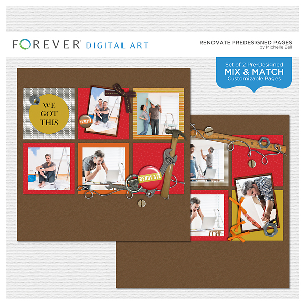 Renovate Predesigned Pages Digital Art - Digital Scrapbooking Kits