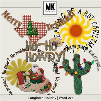 Longhorn Holiday - Word Art