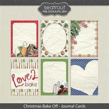 Christmas Bake Off Journal Cards Digital Art - Digital Scrapbooking Kits